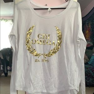 Long sleeve chi omega white and gold shirt